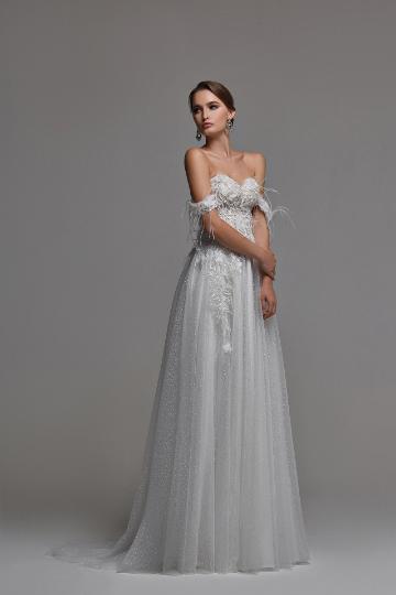 Feathers wedding dress, Sexy wedding dress, White glitter tulle wedding dress,