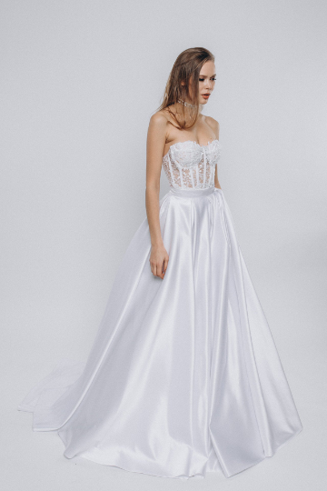 Off shoulder wedding gown, Lace corset bodice and silk skirt wedding dress, A