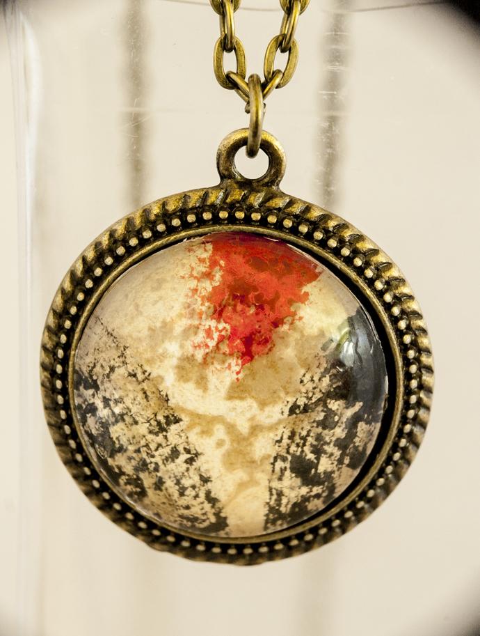 'Black White Red' Bronze, Medium, Lacy Pendant
