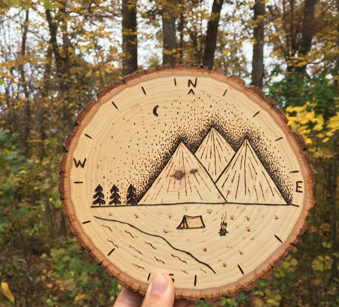 Compass Wood Wall Signs,Mountain Scene Decor,Woodland Signs,Camping Lover