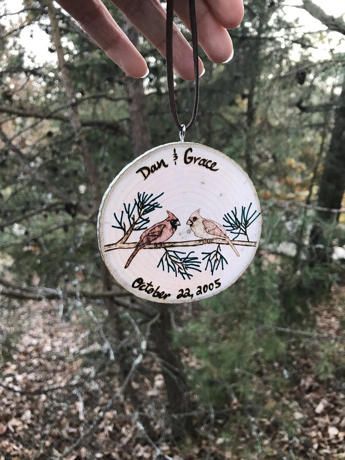 Newlywed Christmas Ornament,Personalized Anniversary Ornament,Cardinal