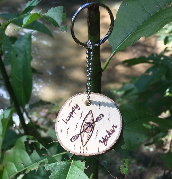 Kayaking Wood Key Chain,Kayaker Gift,Gifts for kayakers,Kayak Decor,Happy
