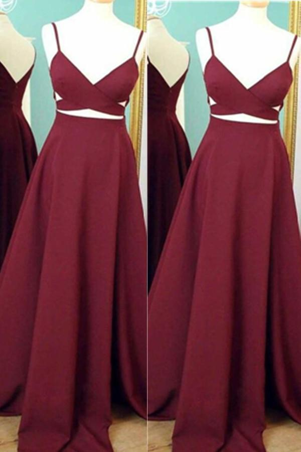 Simple High Quality Cheap Burgundy Long A-line Prom Dresses