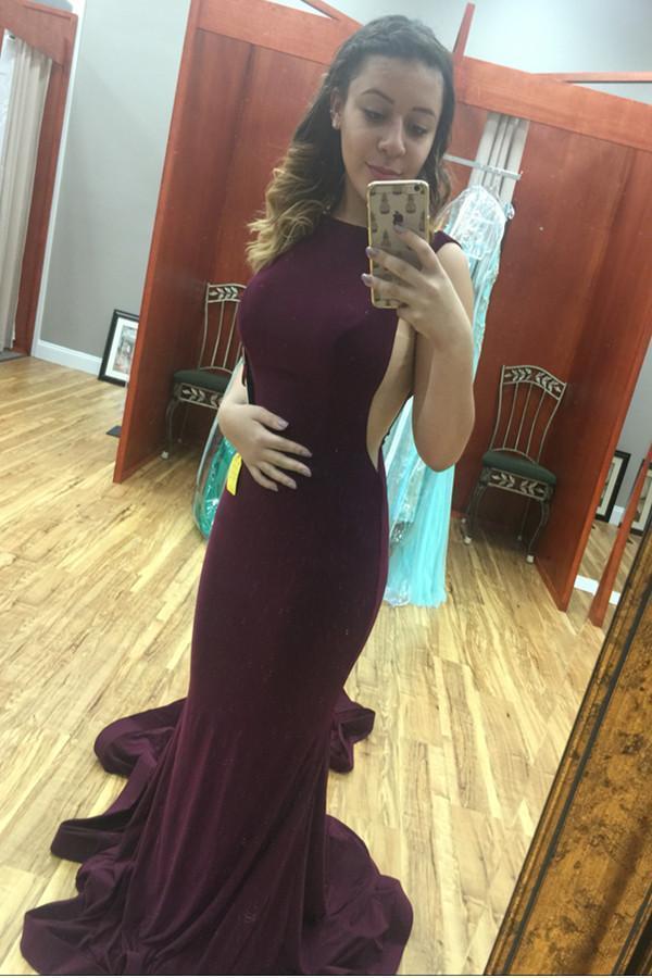 Dark Plum Long Mermaid Open Back Sexy Simple Cheap Prom Dresses
