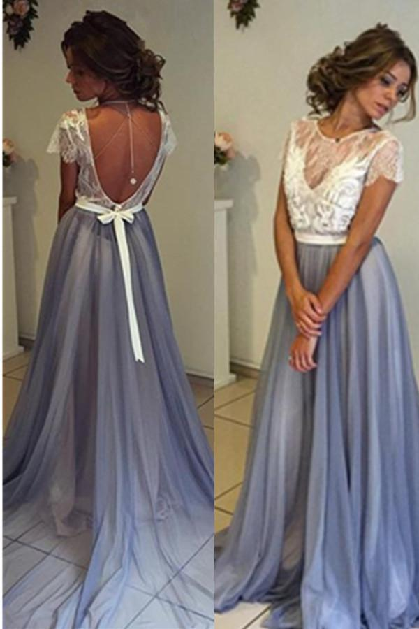 A-line Long Blue Open Back Lace Tulle Simple Cheap Beautiful Prom Dresses