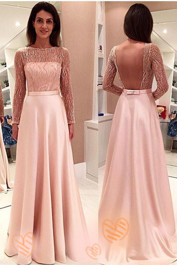 Pink Long Sleeves Backless Girly Cute Simple Cheap Prom Dresses