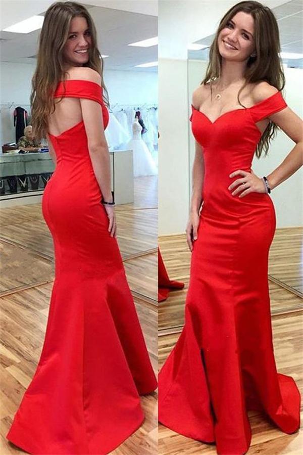 Simple Cheap Handmade Sexy Red Satin Mermaid Long Prom Dresses
