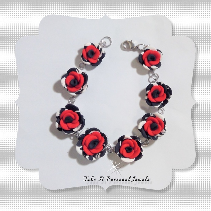Women's Red Rose Dalmatian Handmade Bracelet Polymer Clay Creation