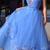 Custom Made Tulle Blue Deep V neck Evening Dress, Sexy Pleated Long Prom Dress,