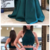 Mermaid High Neck Lace Satin Long Prom Dress Teal Formal Evening Gown,