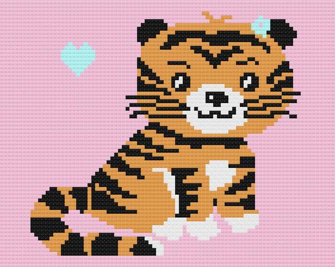 Baby Tiger Love C2C Crochet Pattern PDF Graph and Written Row by Row Color Block