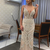 elegant spaghetti strap beading prom dress