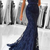 Mermaid V-Neck Sweep Train Dark Blue Lace Prom Dress with Appliques,
