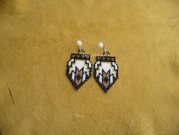 Native American Style Square Stitch Beaded South Western Arrows Earrings