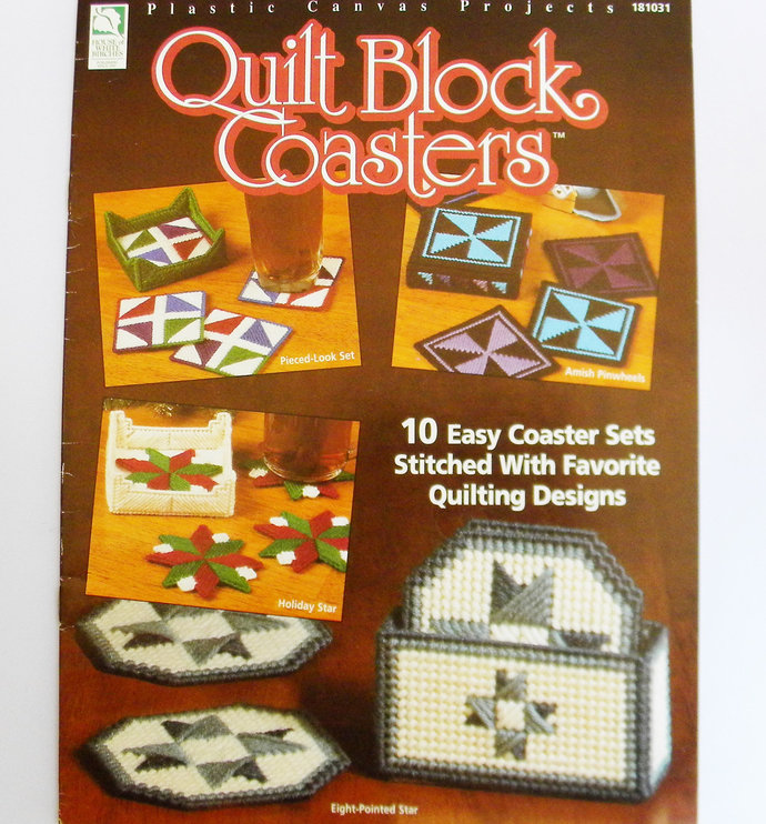 Quilt Block Coasters Plastic Canvas Pattern HWB Leaflet 181031 Holiday Star,