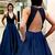 Fashion Beaded V neck Long Prom Dress, Open Back Evening Dress