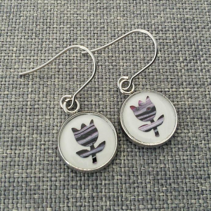 Original Art Flower Earrings