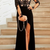 Dignified Scoop Long Sleeves Black Split Prom Dress with Appliques