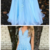 Stunning V-neck Sleeveless Blue Sweep Train Prom Dress with Appliques,