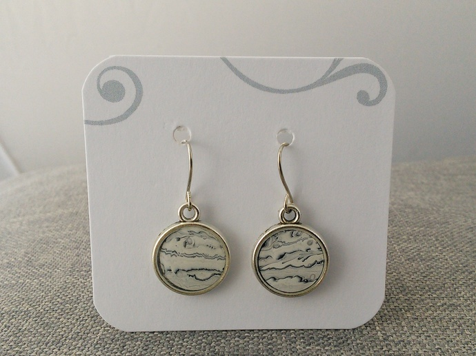 Black and White Original Art Earrings