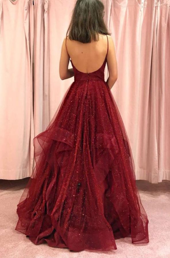Burgundy v neck tulle long prom dress, burgundy evening dress,