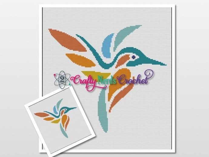 Teal Orange Hummingbird Pattern Graph With Single Crochet Written