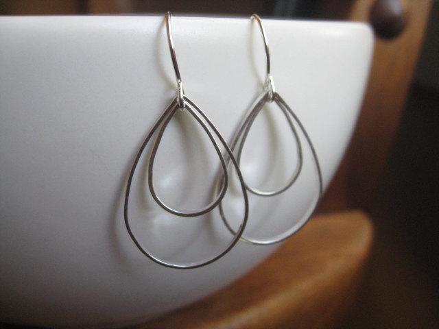 modern silver earrings. geometric earrings. rain drop earrings. peacock