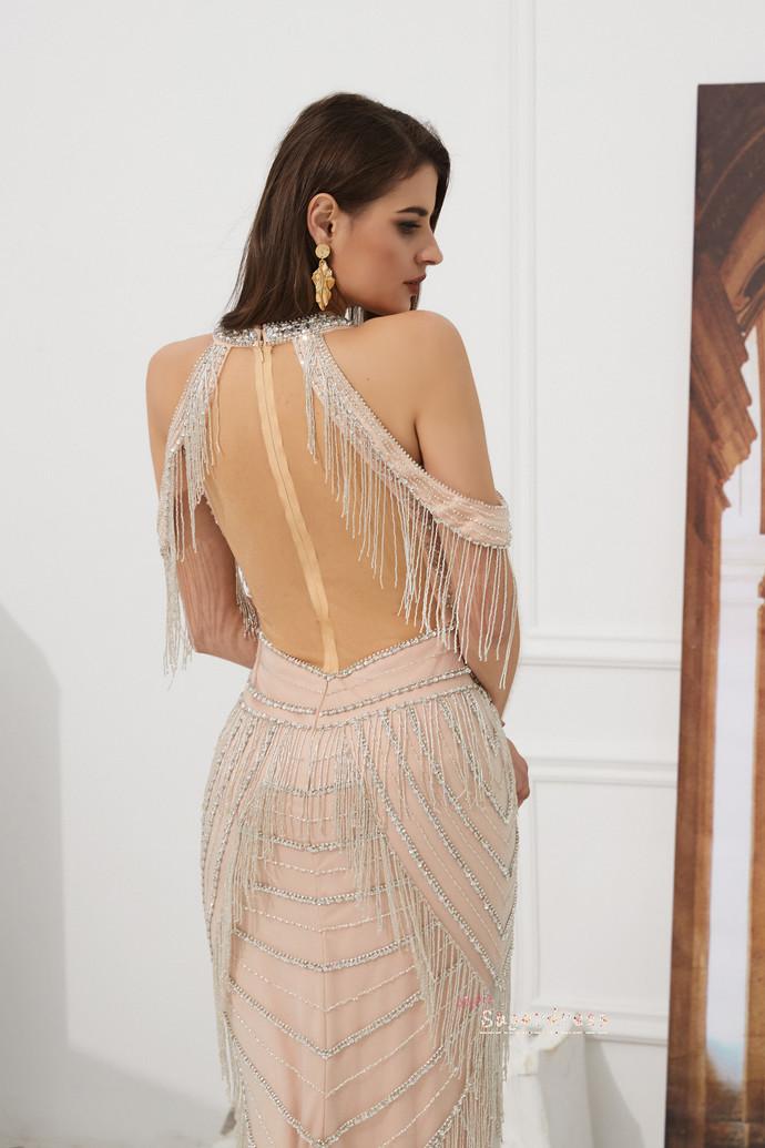Open Shoulder Champagne Mermaid Evning Dress 8001482