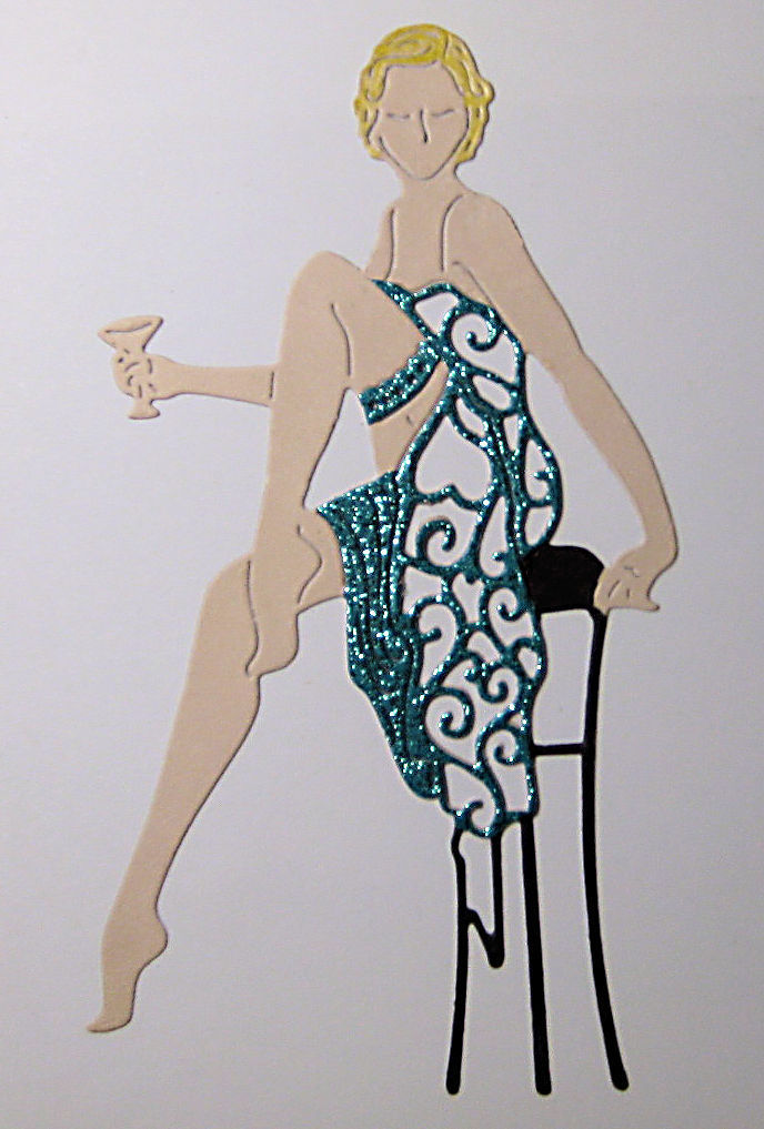 Flapper Girl on Stool with Drink Cutting Die Tattered Lace