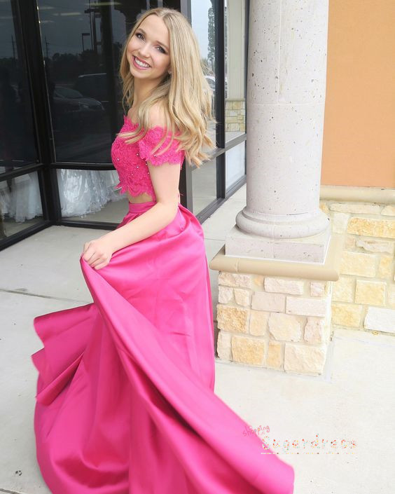 Asymmetrical Two Piece Prom Dress with Lace Crop 8002144