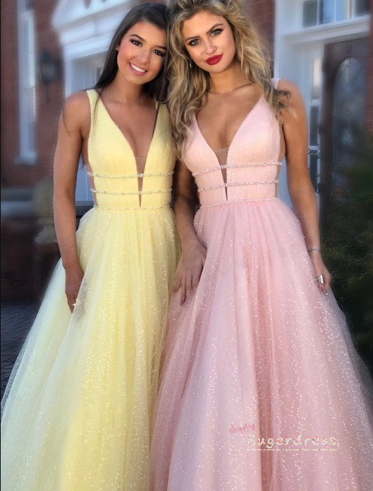 Glitter Illusion Side Long Prom Dress 8002143