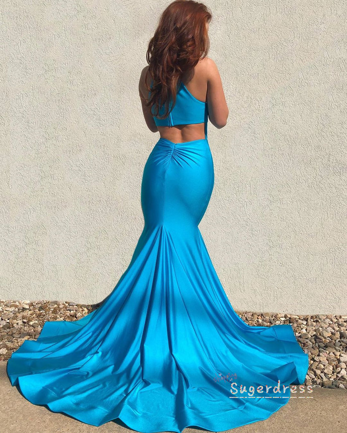 Cut Out Turquoise Blue Mermaid Prom Dress 8002147