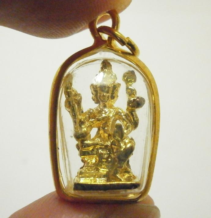 Phra Phrom Tiny pendant lord Brahma Trimurti Hindu small locket god deity