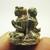 Tiny Khunpaen chant magic mantra with 2 ladies mini metal amulet Thai Talisman