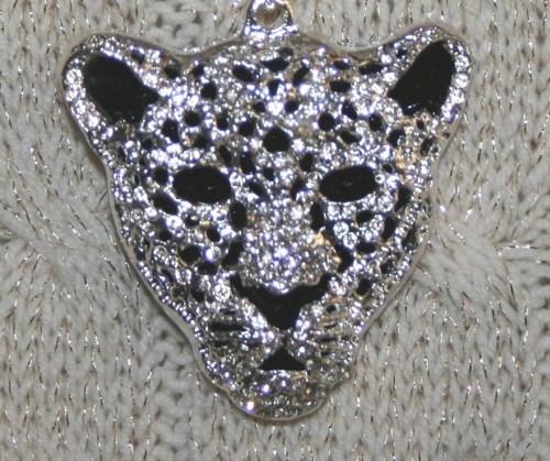 Rhinestone Tiger Face Pendant Sweater Necklace, Silver Color Pendant on Silver