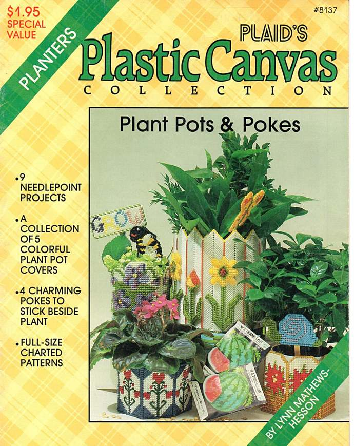 Plant Pots and Pokes Plastic Canvas Pattern Plaid's  Leaflet 8137 Snail Bee
