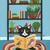 The Little Reader Original Cat Folk Art Painting