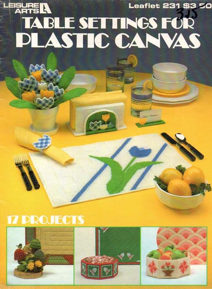 Table Settings Plastic Canvas Pattern Leaflet LA 231 Place Mats, Napkin Rings