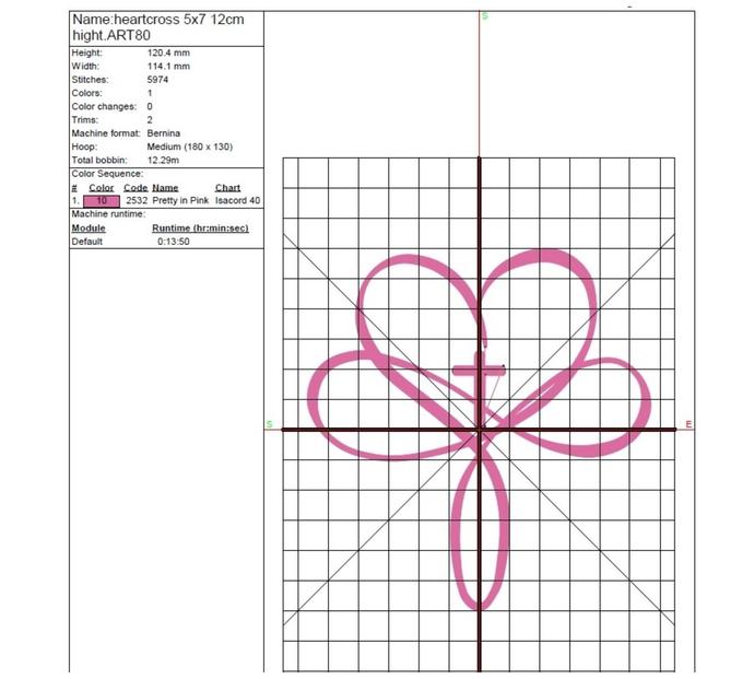 Cross Heart Machine Embroidery Design pes machine digital instant download