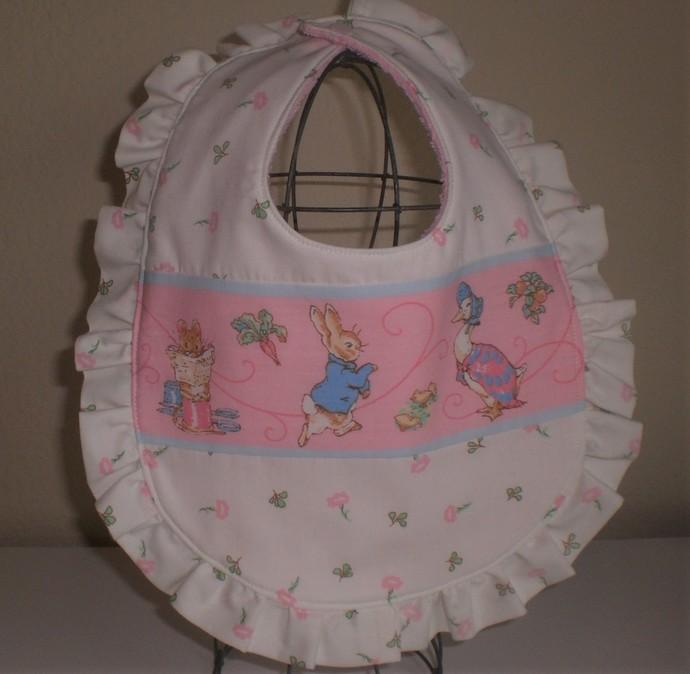 Handmade Peter Rabbit, Beatrix Potter baby ruffle bib