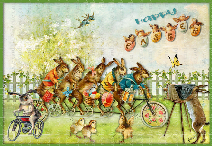 Easter Bunnies Riding Bicycle Digital Collage Greeting Card2572