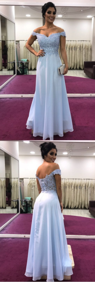 Custom Made Unique Charming A-line Off Shoulder Chiffon Prom Dresses Lace