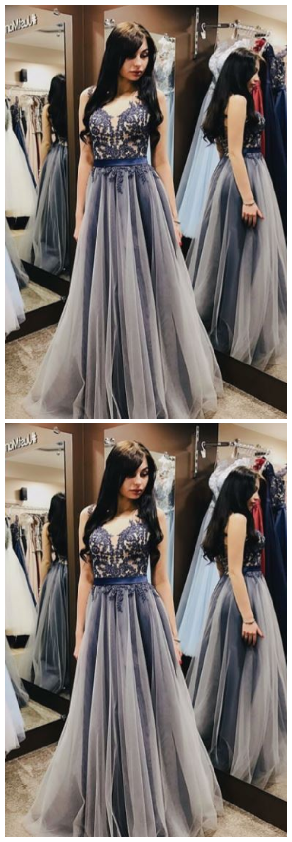 Gray v neck tulle lace long prom dress,gray evening dress