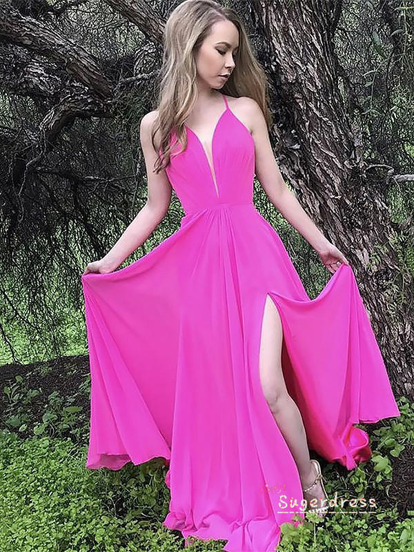 Simple Lace-Up A-Line Prom Dress with Slit 8000250
