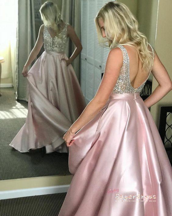 Gorgeous V-Back Beaded Red Prom Dress 8000274
