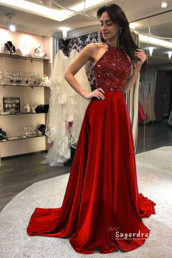 Emerald Green Hollow Out Beaded Prom Dress 8000512