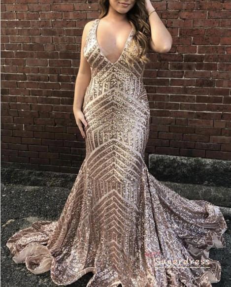 Glitter V-Back Sequins Mermaid Evening Dress 8000625