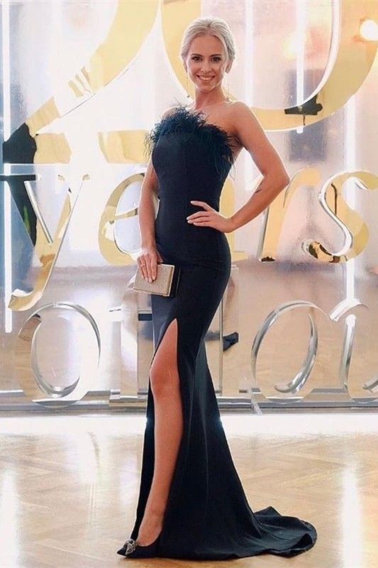 Chic Black Mermaid Prom Evening Dress Strapless Side Slit With Feathers,2032