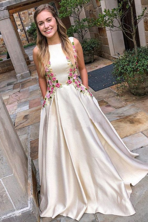 Round Neck Long Prom Dress , Open Back Prom Dress With Appliques,2036