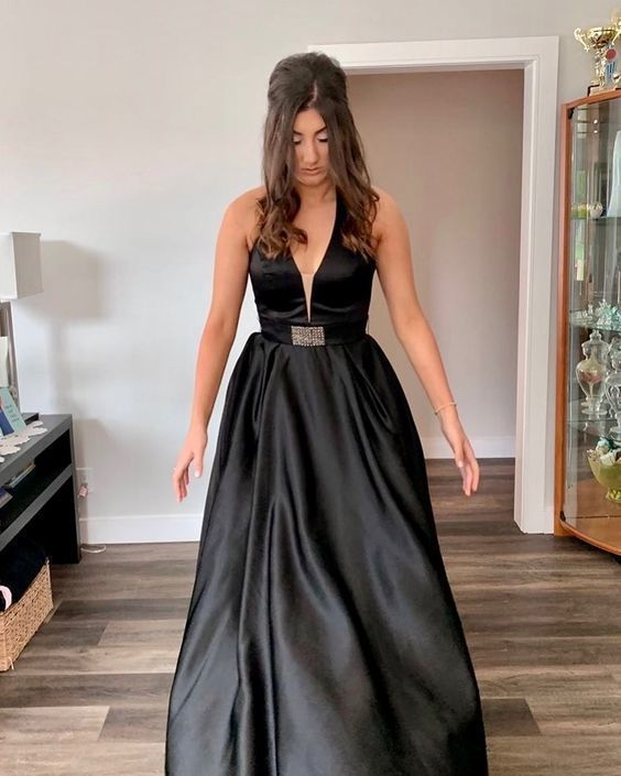 Black Prom Dress,Satin Prom Dress,V-Neck Prom Dresses,A-Line Prom Dress,2040